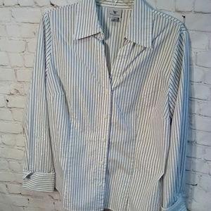 Worthington classic pinstripe blouse size 16